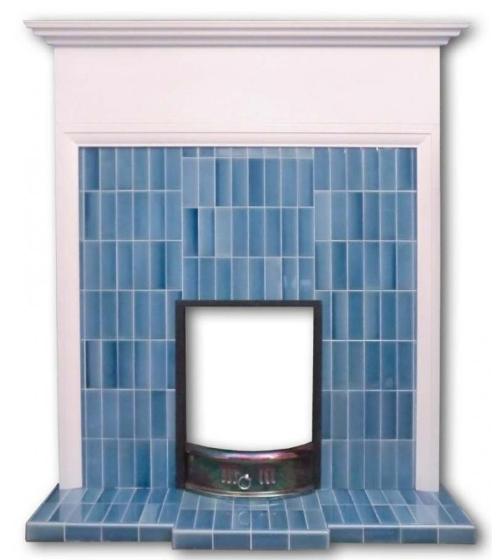 Voysey tiled fireplace insert in blue tiles