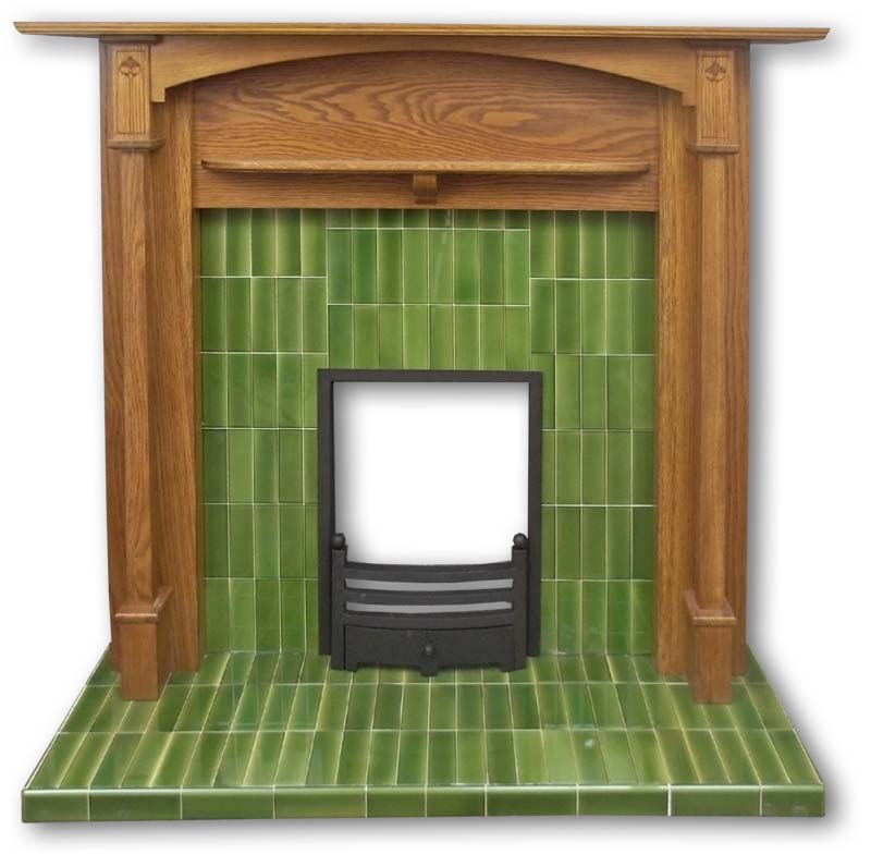Voysey tiled fireplace insert in green tiles